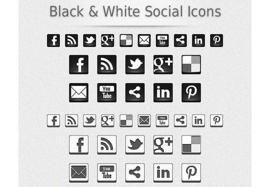 Black & White 3D Social Icons<br /> http://www.onextrapixel.com/2012/03/16/freebies-black-white-3d-social-icons/