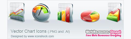 免费向量图图标<br /> http://www.webresourcesdepot.com/free-vector-chart-icons/