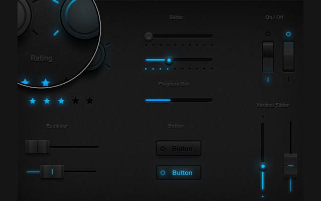 Tron Glow UI Set<br /> http://www.icondeposit.com/design:54