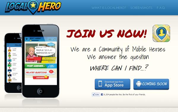 localhero mobile iphone app website webpage