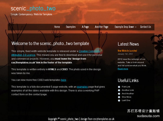 Demo:<br /> http://www.css3templates.co.uk/templates/scenic_photo_two/index.html<br /> Download:<br /> http://www.css3templates.co.uk/templates.html
