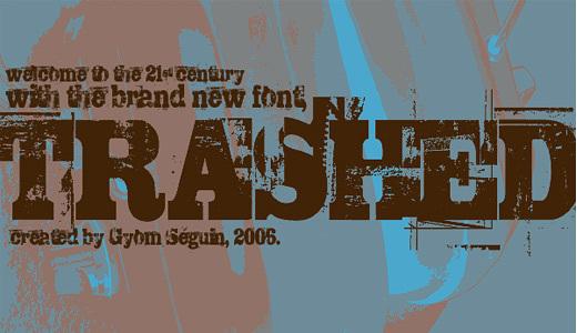 TRASHED<br /> http://www.fontspace.com/last-soundtrack/trashed