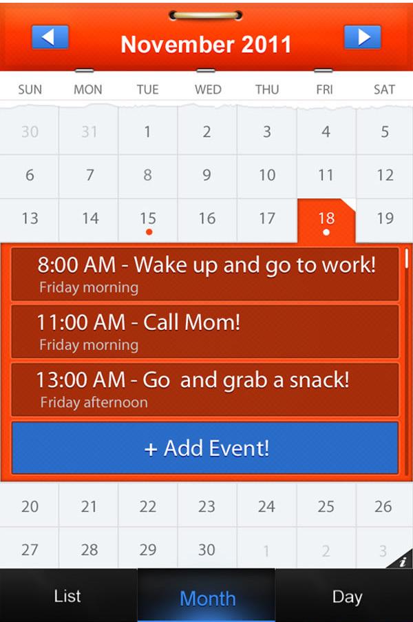 在photoshop中绘制移动日历App  http://psd.tutsplus.com/tutorials/tutorials-effects/mobile-calendar-app/