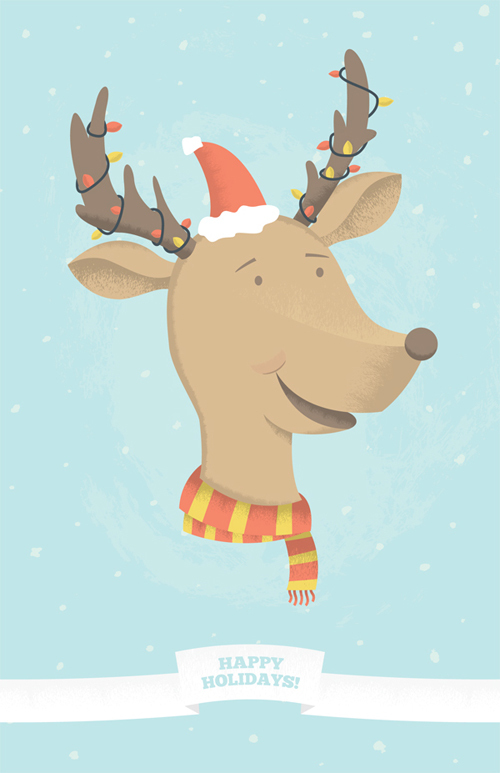 一个有趣的假期驯鹿插图<br /> http://vector.tutsplus.com/tutorials/illustration/fun-holiday-reindeer/