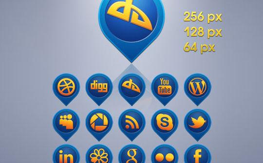 Free Media Pins Social Icons Set<br /> http://freeiconsweb.com/Free-Downloads.asp?id=1848