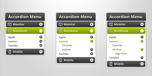 新的手风琴菜单<br /> http://offlajn.com/blog/entry/2011/09/27/the-new-accordion-menu-themes-with-psd-files.html