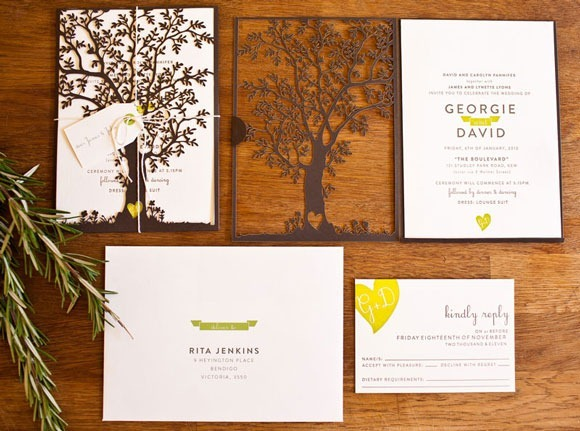 Laser Cut Tree Wedding Invitation<br /> http://ohsobeautifulpaper.com/wp-content/uploads/2012/03/Laser-Cut-Tree-Wedding-Invitations.jpg