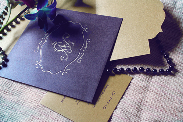 black card gold letters invitation wedding