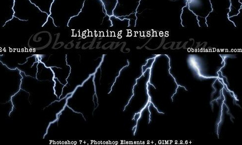 Lightning Photoshop Brushes<br /> http://www.obsidiandawn.com/lightning-photoshop-gimp-brushes