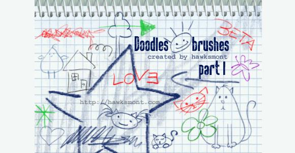 涂鸦的photoshop笔刷<br /> http://hawksmont.deviantart.com/art/Doodles-I-57245152