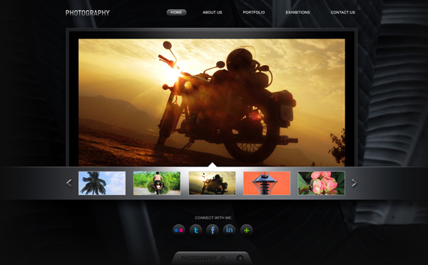 摄影作品集网站PSD模<br /> http://www.graphicsfuel.com/2011/02/photography-portfolio-website-psd-template/