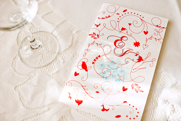 illustration heart print work wedding invites