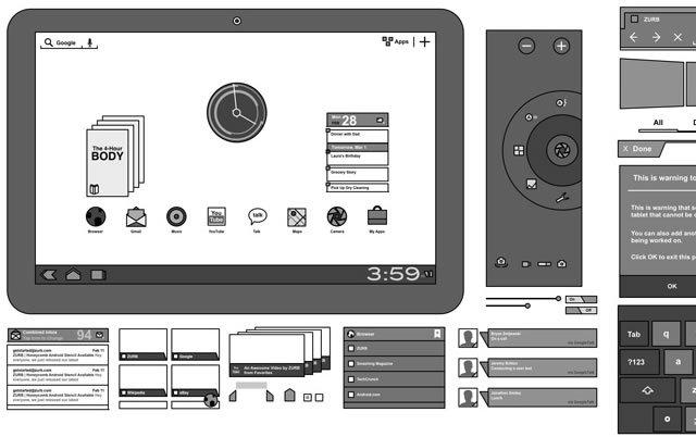 Android 3.0 Omnigraffle Stencils<br /> http://www.zurb.com/playground/honeycomb-stencils