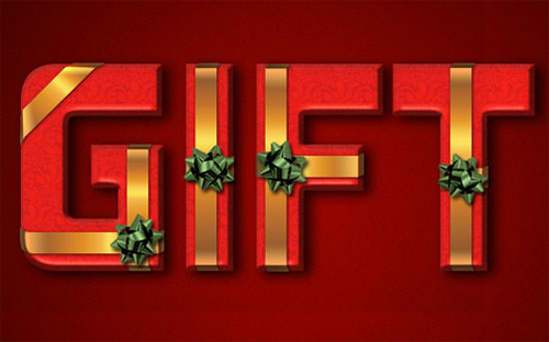 Wrapped Gift Box Text Effect<br /> http://textuts.com/wrapped-gift-box-text-effect/