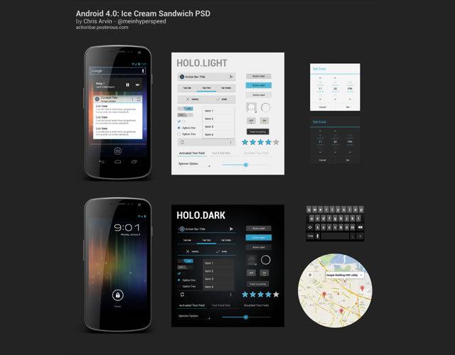 Android 4.0 Ice Cream Sandwich UI (PSD)<br /> http://actionbar.posterous.com/freebie-psd-android-40-ice-cream-sandwich-ui