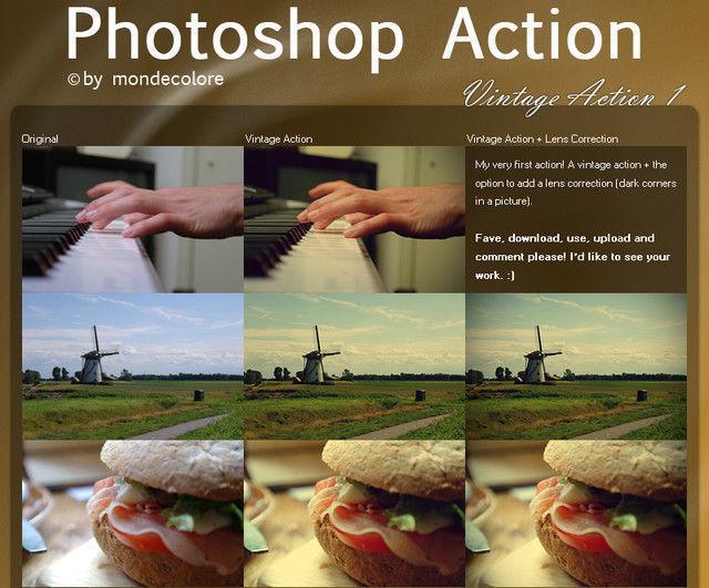 Vintage Photoshop Action I<br /> http://mondecolore.deviantart.com/art/Vintage-Photoshop-Action-I-320753480