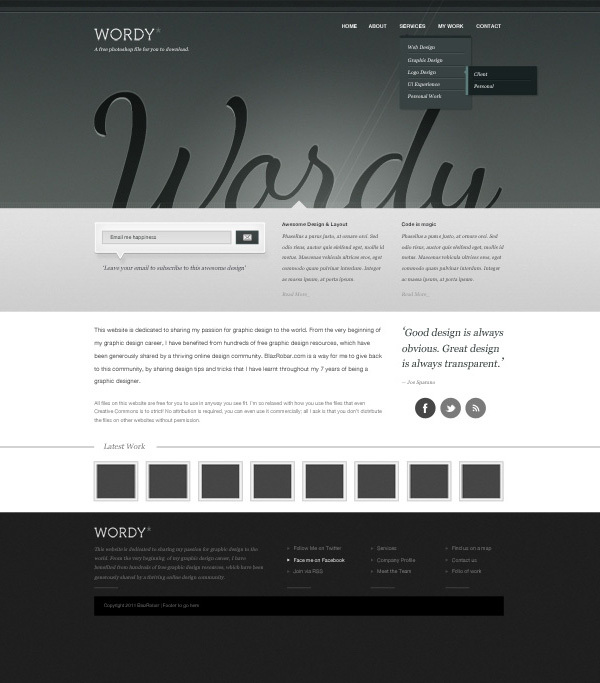 罗嗦-免费网站PSD<br /> http://www.blazrobar.com/2011/free-psd-website-templates/wordy-a-free-website-psd-download/