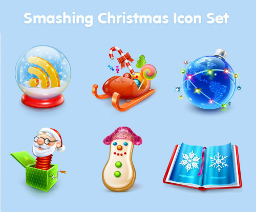 圣诞图标集<br /> http://www.smashingmagazine.com/2008/12/17/smashing-christmas-icon-sets/