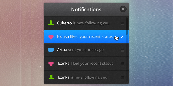 Notifications<br /> http://dribbble.com/shots/631076-Notifications-PSD-freebie