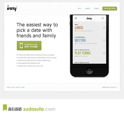 invy<br /> Invy是一个时尚的日期选择器的iPhone。应用程序是集成在iPhone上的地址簿和日历。<br /> https://www.invyapp.com/en/