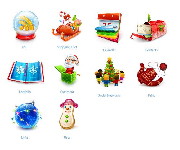非凡的圣诞图标集<br /> http://www.smashingmagazine.com/2008/12/17/smashing-christmas-icon-sets/