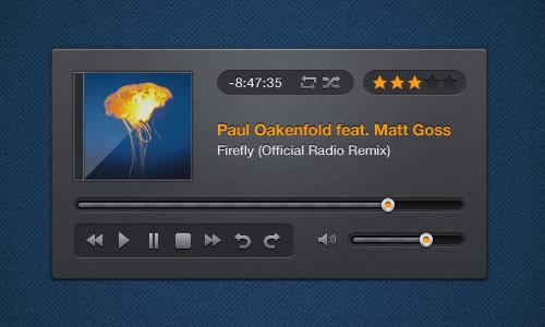 音乐播放器PSD<br /> http://365psd.com/day/2-283/