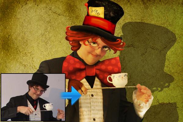 人物图像的卡通演员<br /><br /> http://www.psd-dude.com/tutorials/photoshop.aspx?t=the-mad-hatter-from-alice-in-wonderland-photoshop-tutorial