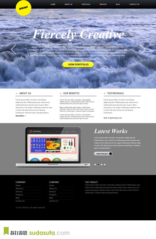 MINIMAL WEBSITE WITH FULL SCREEN BACKGROUND TEMPLATE<br /> http://www.graphicsfuel.com/2011/12/minimal-website-psd-template/