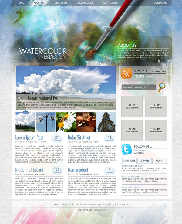 如何绘制水彩风格的WEB效果图<br /><br /> http://psd.tutsplus.com/tutorials/interface-tutorials/create-a-watercolor-themed-website-design-with-photoshop/