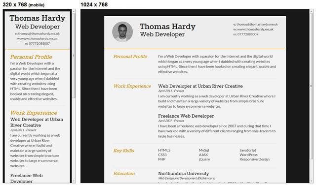 Responsive HTML/CSS3 CV Template<br /> http://www.thomashardy.me.uk/free-responsive-html-css3-cv-template