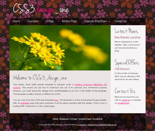 Demo:<br /> http://www.css3templates.co.uk/templates/CSS3_design_one/index.html<br /> Download:<br /> http://www.css3templates.co.uk/templates.html