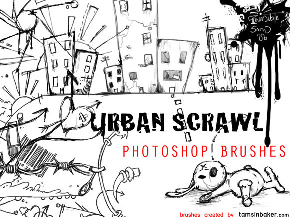 城市乱写的Photoshop笔刷<br /> http://invisiblesnow.deviantart.com/art/Urban-Scrawl-Photoshop-Brushes-41545917