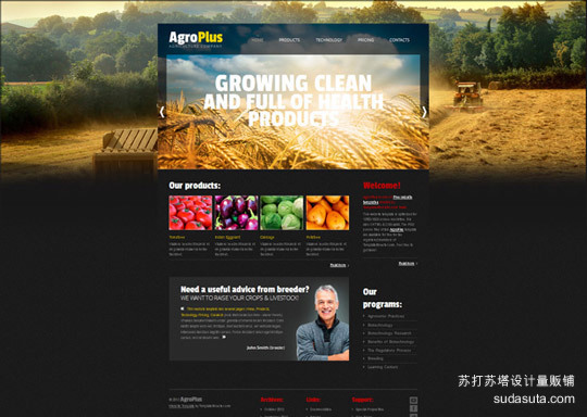 Demo:<br /> http://www.websitetemplatesonline.com/free-template/Free-AgroPlus-Template.html<br /> Download:<br /> http://www.templatemonster.com/free-templates/free-website-template-jquery-slider-agriculture.php