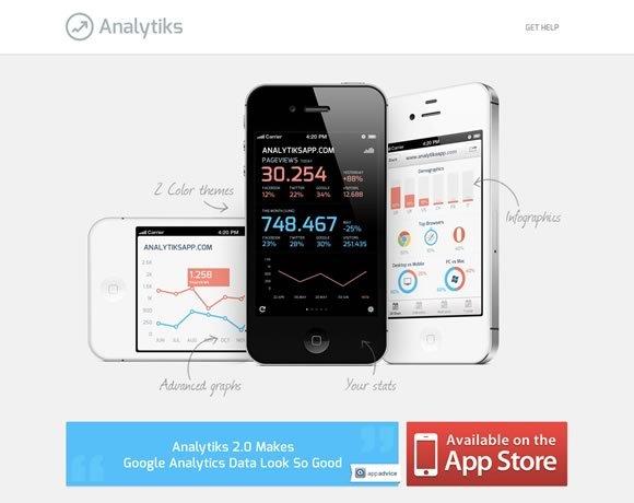 Analytiks<br /> Analytiks是您的Google Analytics(分析)移动版。美观,简洁,快速,永远伴随着你。<br /> http://www.analytiksapp.com/
