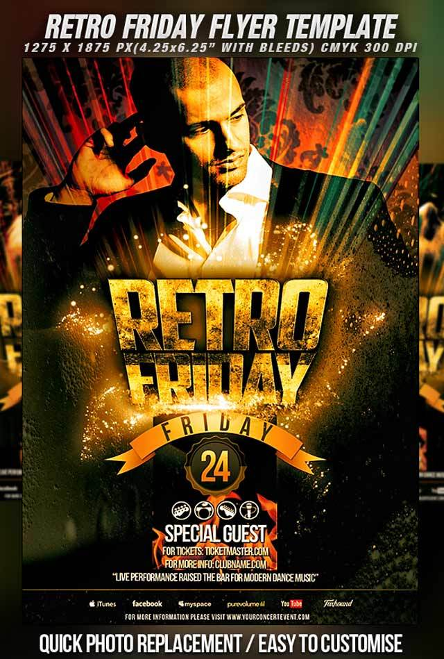 Retro Friday Flyer Template<br /><br /> http://bicirique.deviantart.com/art/PSD-Retro-Friday-Flyer-Template-285646010