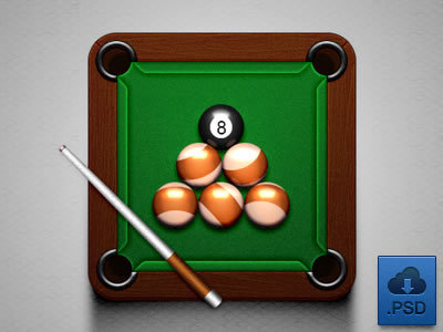 Billiards (Free PSD) http://dribbble.com/shots/800557-Billiard-Icon-free-psd