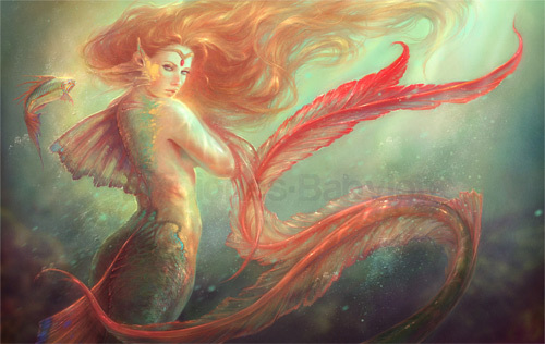 美人鱼<br /> http://martanael.deviantart.com/art/Mermaid-and-her-alter-ego-fish-261343046
