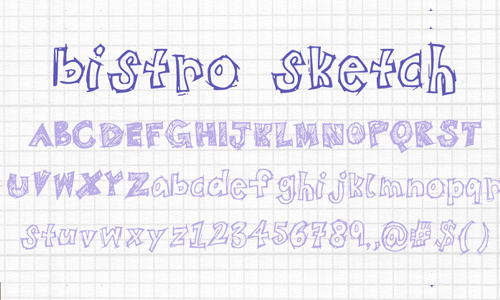 BistroSketch font<br /> By 21stbistro.<br /> http://www.fontspace.com/21stbistro/bistrosketch