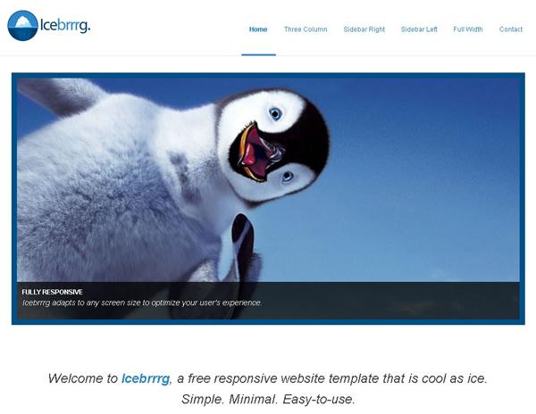 ICEBRRRG – FREE RESPONSIVE WEBSITE TEMPLATE<br /> http://www.opendesigns.org/design/icebrrrg/