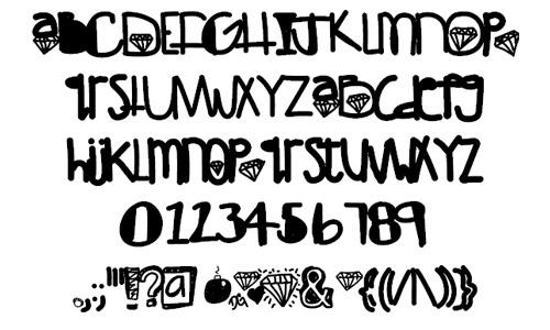 Diamondgirl font<br /> By Des.<br /> http://www.fontspace.com/des/diamondgirl