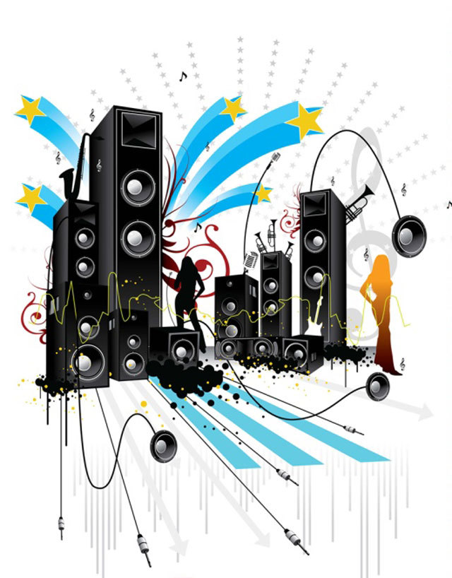 Pop Art Style Music Vector<br /> http://www.vectorilla.com/2011/01/music-vector-illustrations/