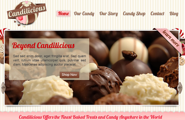 FREE PSD WEBSITE TEMPLATE<br /> http://psdstyle.net/2010/10/22/candilicious-free-psd-website-template/