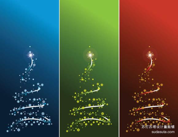 风格化的矢量圣诞树<br /> http://www.vectorjungle.com/2008/11/styalized-vector-christmas-tree-set/