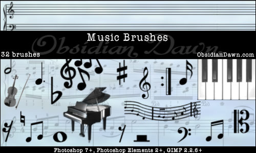 Music Photoshop Brushes<br /> http://redheadstock.deviantart.com/art/Music-Photoshop-Brushes-37338562