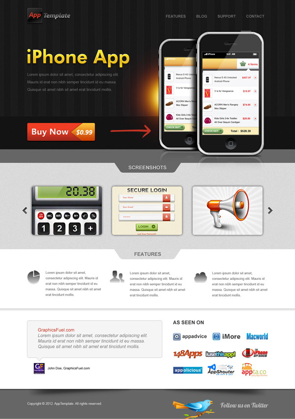 iPhone应用程序网站模板<br /> http://www.graphicsfuel.com/2012/01/iphone-app-website-template-psd/#data