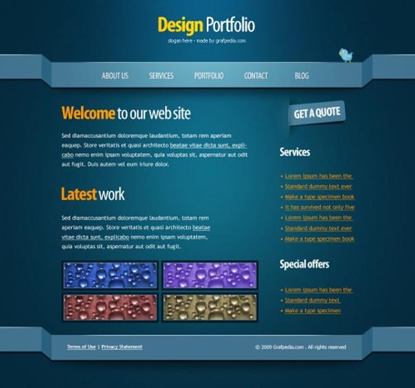 绘制带有3D立体效果的网页设计图 http://www.grafpedia.com/tutorials/create-clean-psd-layout-3d