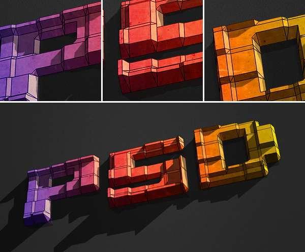 在photoshop中绘制一个带有3D立体效果的字体<br /> http://psd.tutsplus.com/tutorials/3d/how-to-create-3d-text-blocks-in-photoshop/