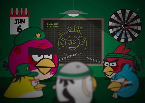 "在Illustrator中创建一个愤怒的小鸟""模仿秀<br /> http://abduzeedo.com/create-angry-birds-parody-illustrator"