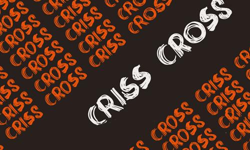 DK Criss Cross font<br /> By David Kerkhoff.<br /> http://www.fontspace.com/david-kerkhoff/dk-criss-cross