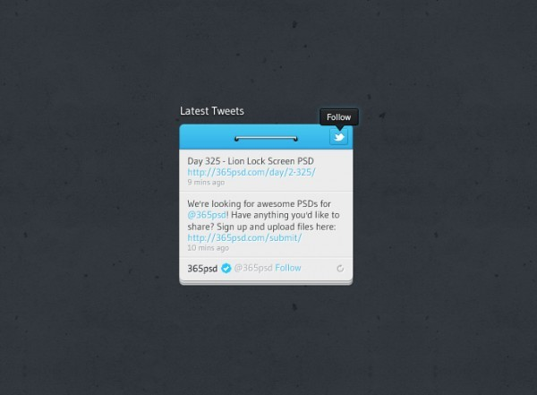 Twitter Widget Design PSD<br /> http://365psd.com/day/2-352/